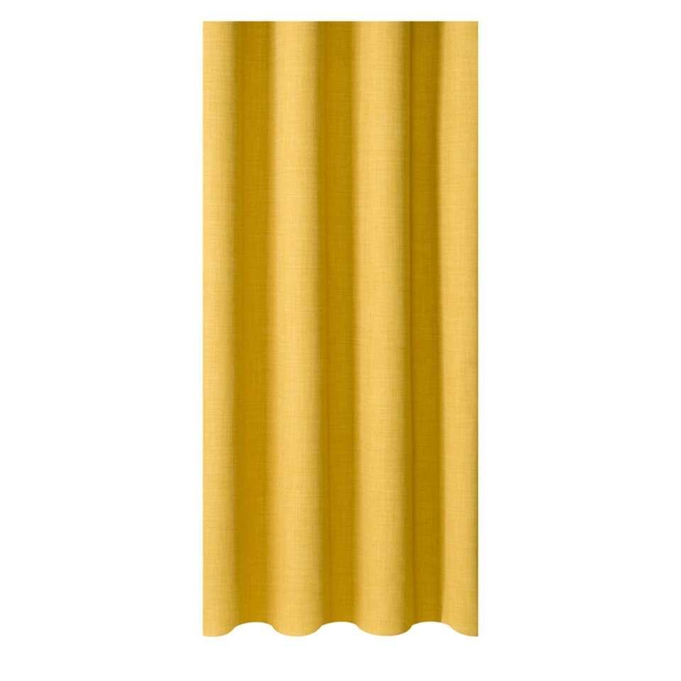 Breng meer gezelligheid in huis met gordijnstof Sieb. De gordijnstof geeft het vertrek een moderne uitstraling, is gemaakt van 100% polyester en is okergeel van kleur. De stof is 140 cm breed en kan in elke gewenste lengte worden