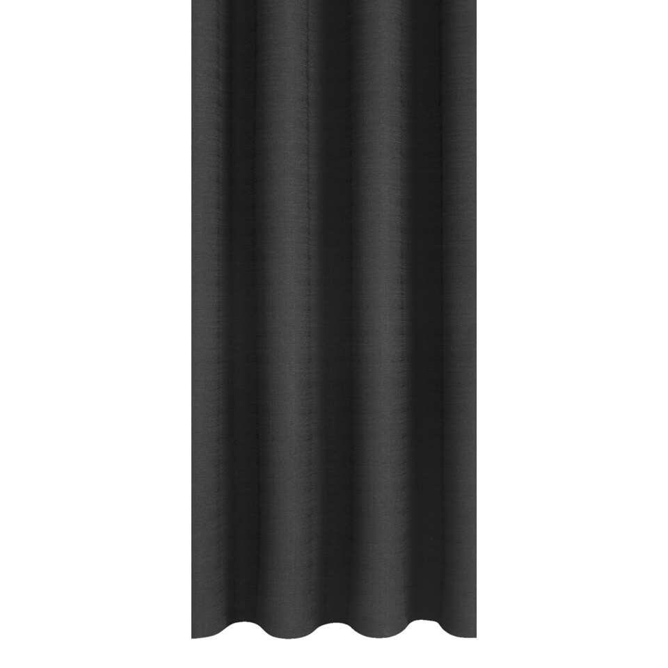 Gordijnstof Julian is zwart van kleur en heeft een landelijk stijlvolle look. Deze stof is gemaakt van 100% polyester en valt mooi soepel. De stof in 140 cm breed.