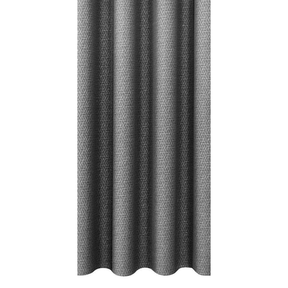Gordijnstof Nice - antraciet/zilver
