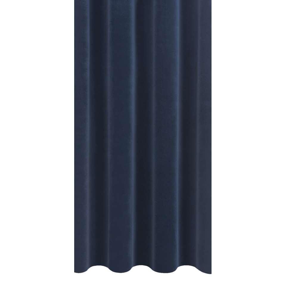 Gordijnstof Victoria - velours - donkerblauw