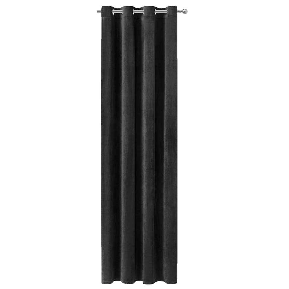 Gordijn Ruby - french velvet zwart - 250x140 cm (1 stuk) - Leen Bakker