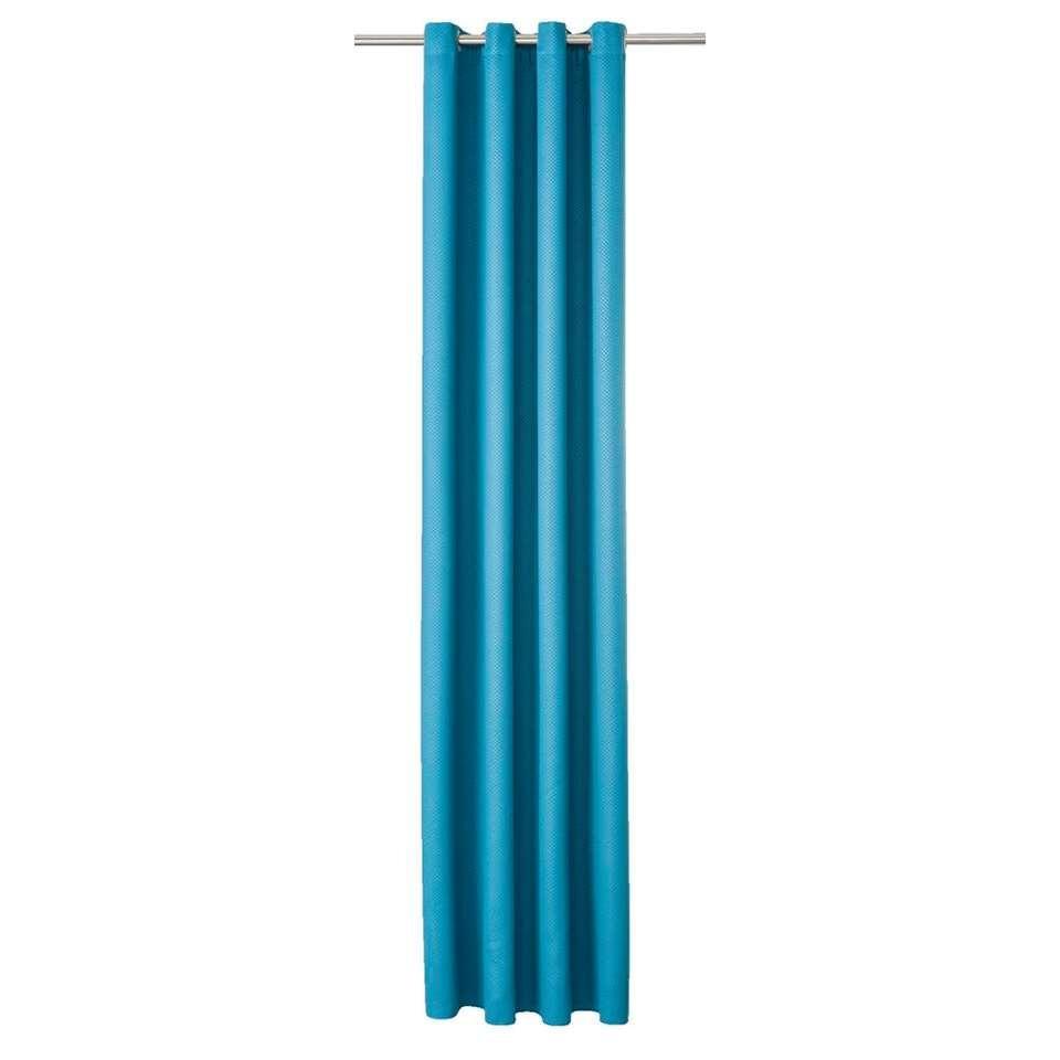 Gordijn Jersey - petrol - 250x140 cm (1 stuk) - Leen Bakker