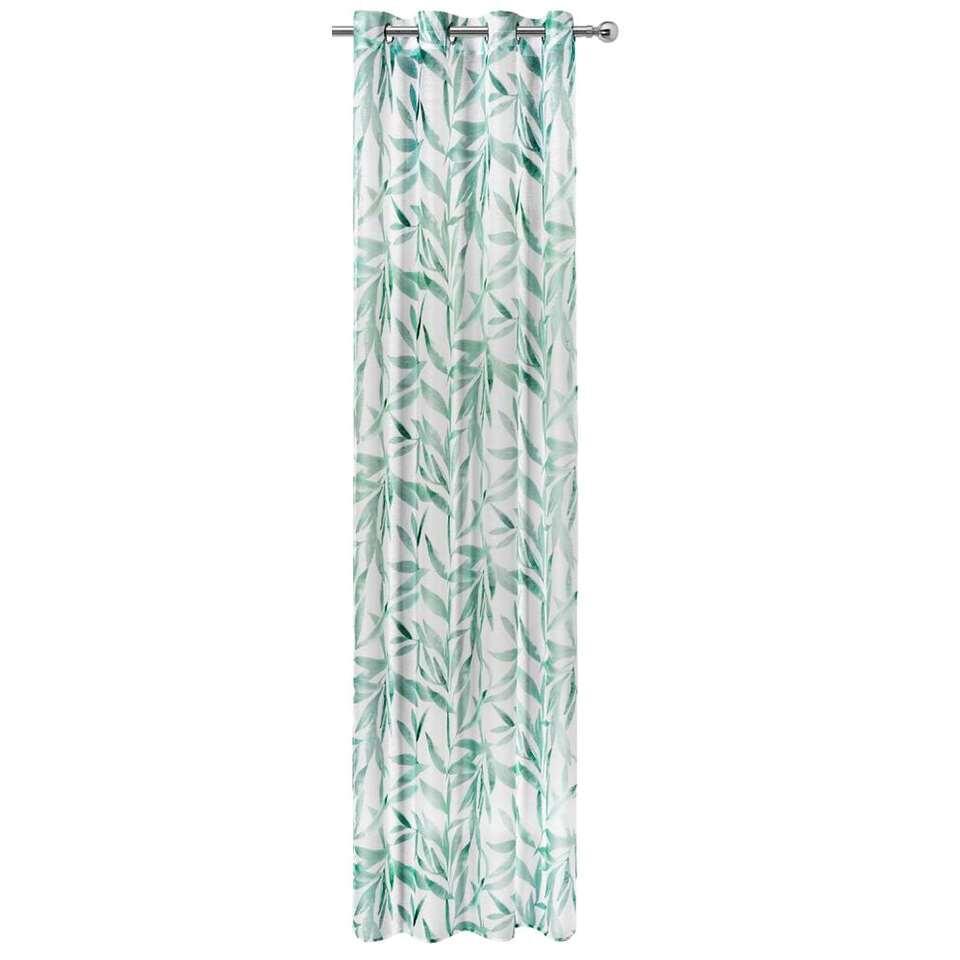 Gordijn Havana - wit/groen - 280x135 cm (1 stuk)