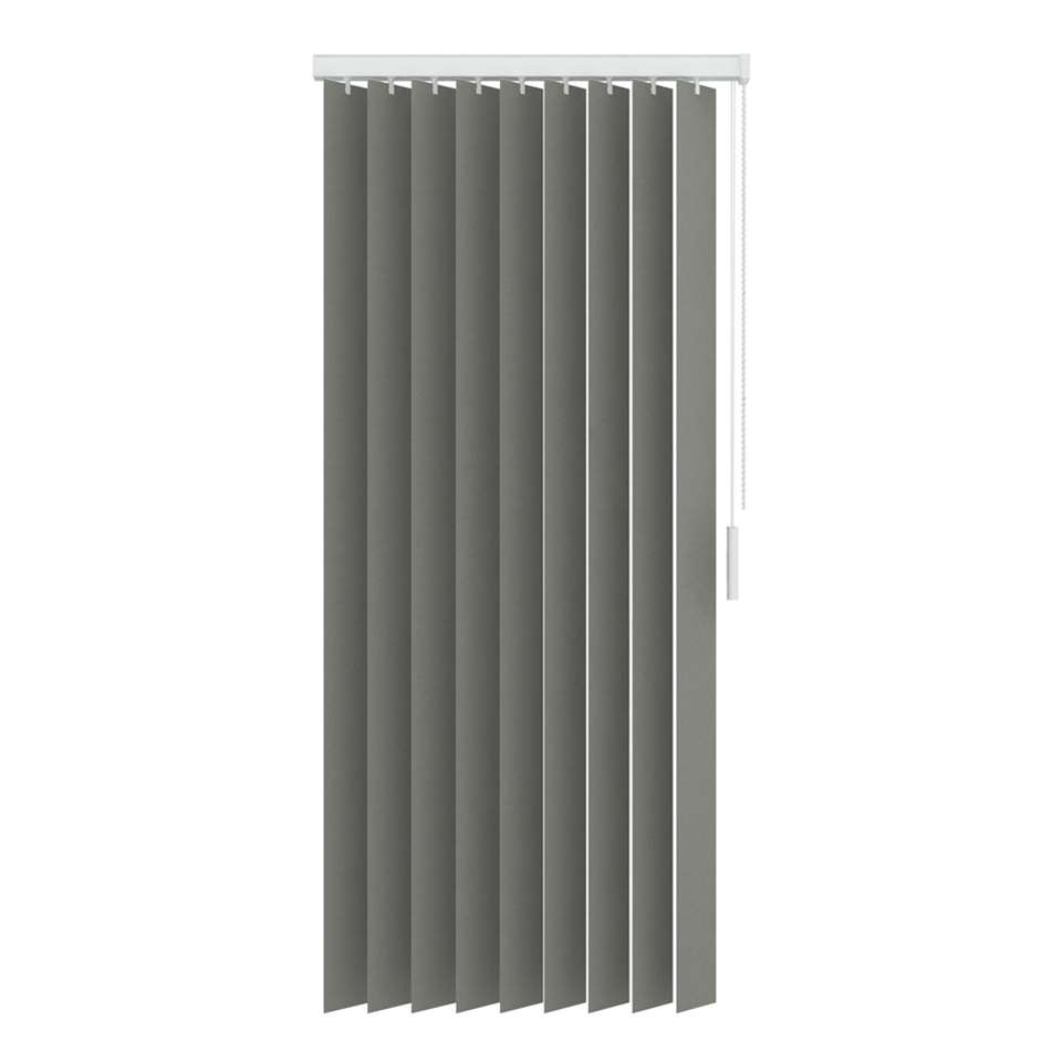 Een verticale lamel gemaakt van lichtdoorlatende uni stoffen. De lamel heeft een afmeting van 250x180 cm en is 89 mm breed. Inclusief rail.