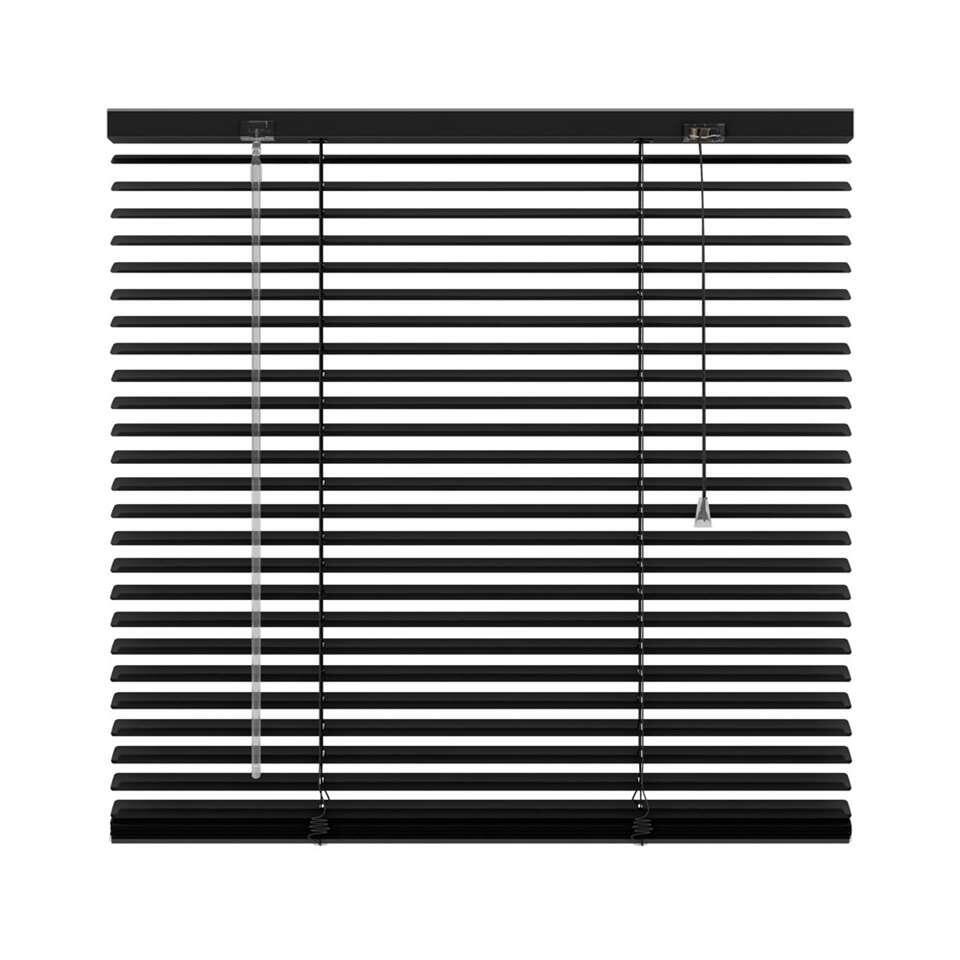 Horizontale jaloezie aluminium 25 mm - zwart - 80x130 cm - Leen Bakker