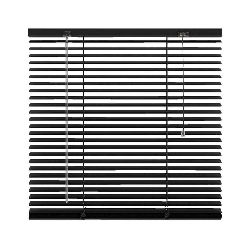 Horizontale jaloezie aluminium 25 mm - mat zwart - 100x130 cm - Leen Bakker