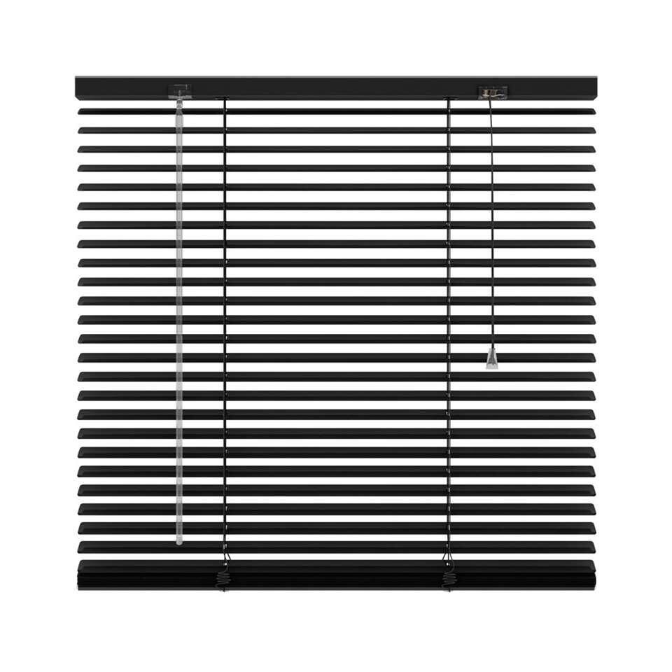 Horizontale jaloezie aluminium 25 mm - mat zwart - 220x180 cm - Leen Bakker