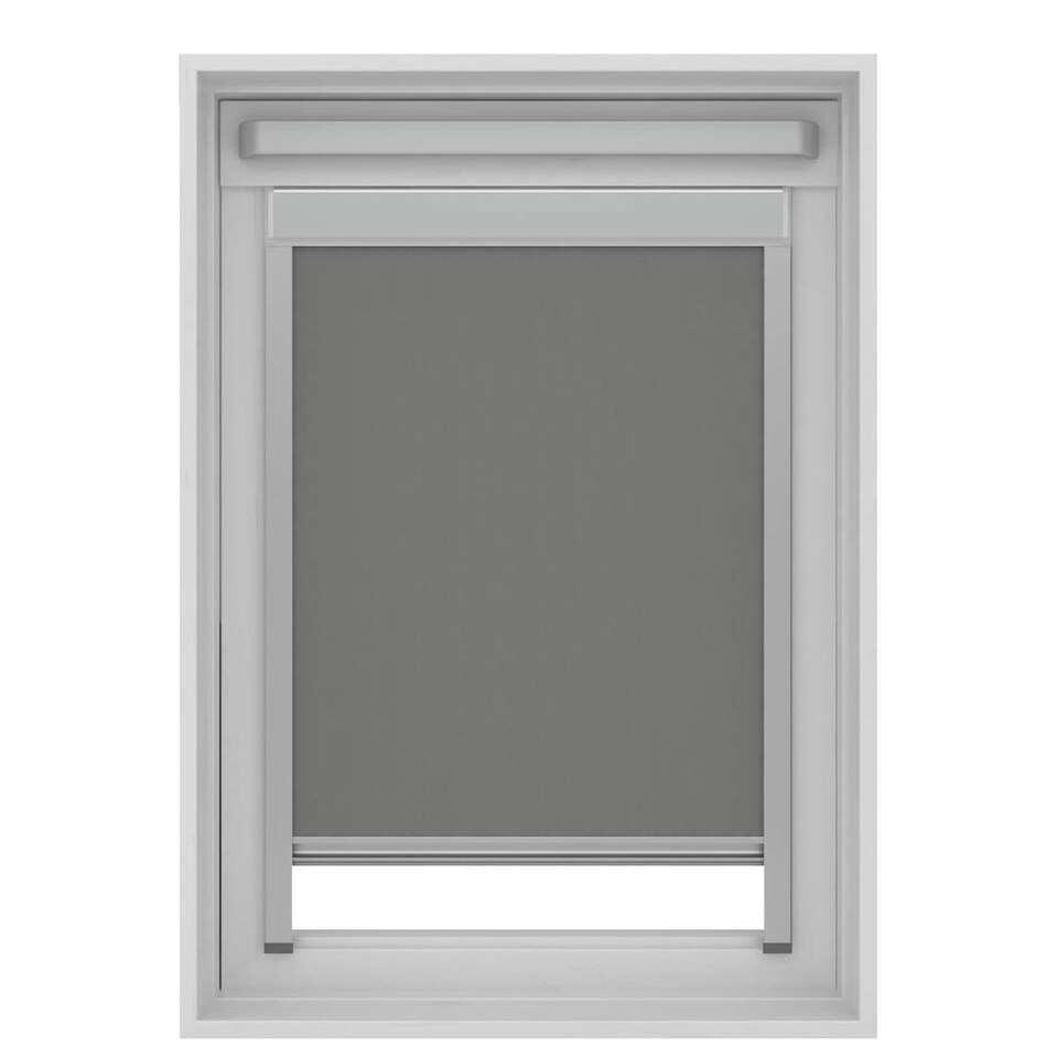 Dakraamrolgordijn verduisterend - grijs - SK06 - 114x118 cm - Leen Bakker