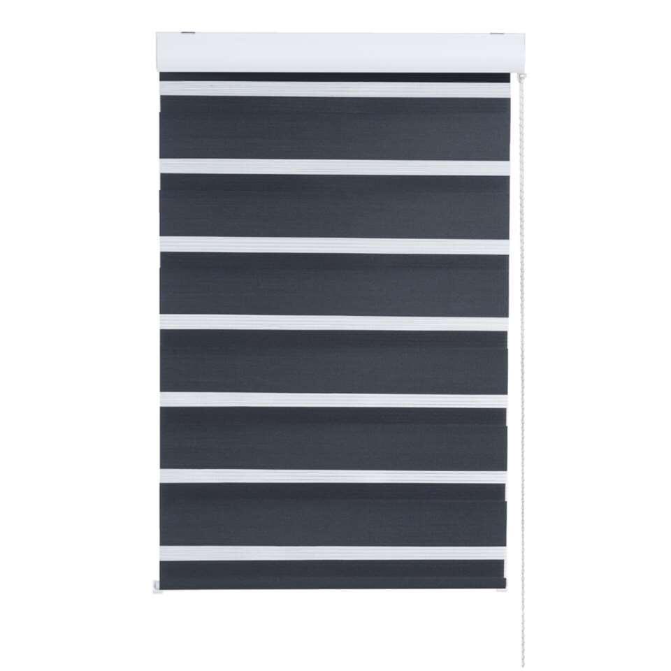 Duo rolgordijn lichtdoorlatend - zwart - 90x210 cm