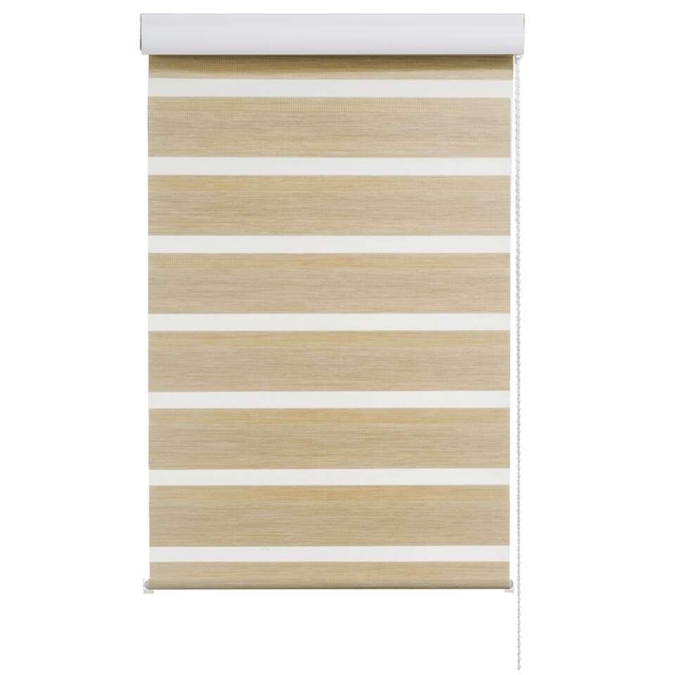 Roljaloezie lichtdoorlatend – houtlook ivoor – 180×250 cm – Leen Bakker