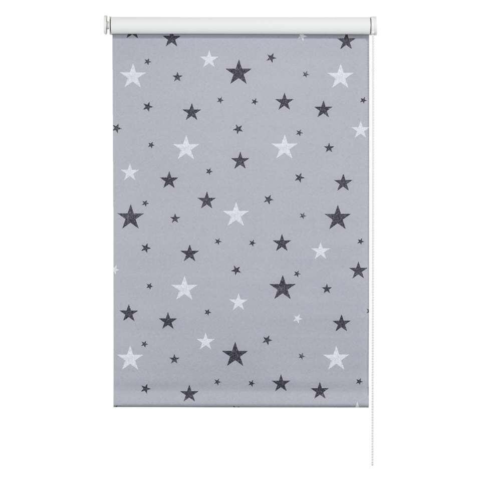 Rolgordijn verduisterend - dessin grijs/wit - 60x190 cm