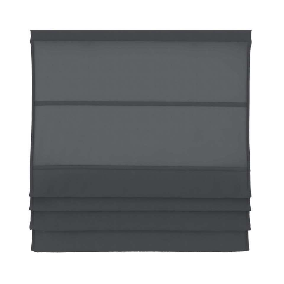 Vouwgordijn lichtdoorlatend - antraciet - 160x180 cm - Leen Bakker