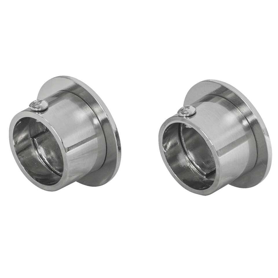 Steun voor een gordijnroede van 28 mm. Strakke uitstraling en zilverkleurig.