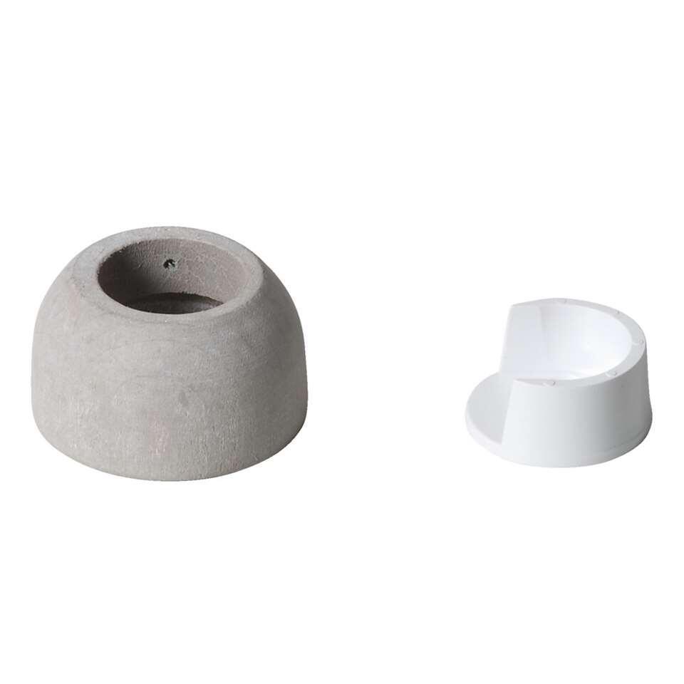 Halfronde steun voor een 28 mm gordijnroede. Kleur is klei grijs, een stoere kleur.