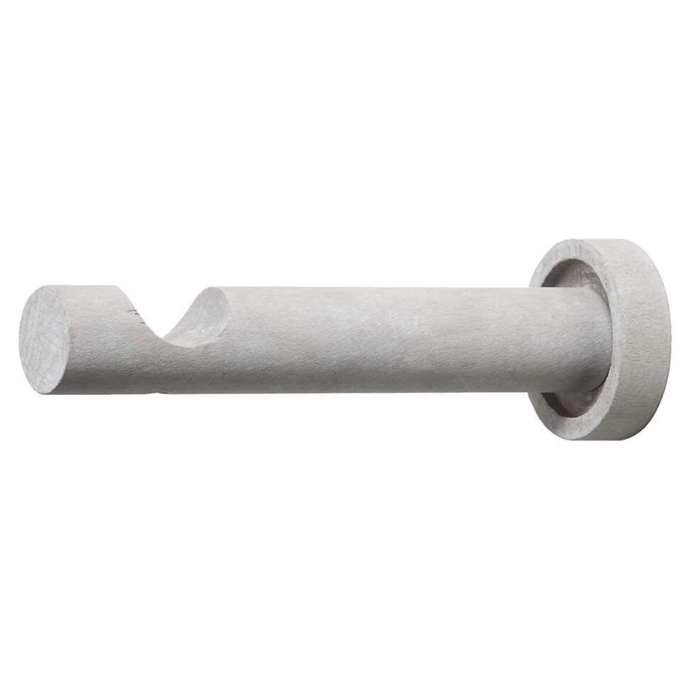 Ronde opleg steun. Voor een 28 mm gordijnroede. Van hout, kleur klei grijs.