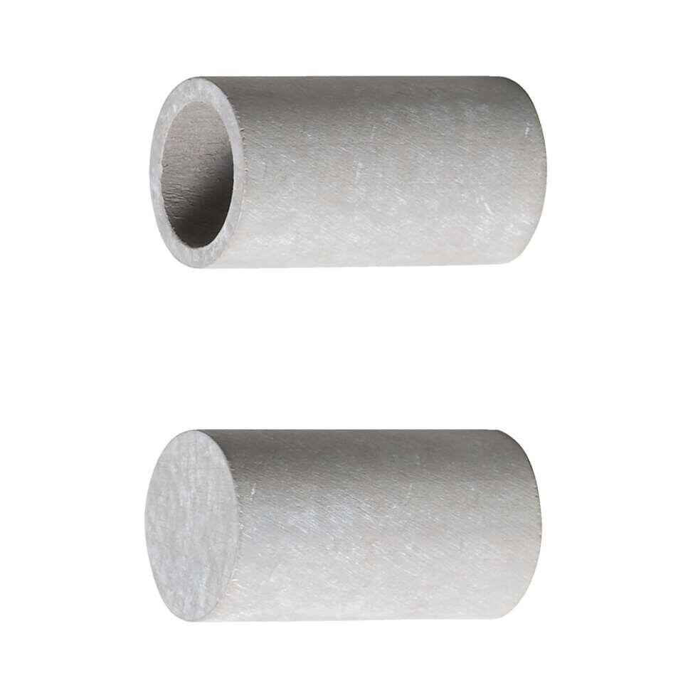 Knop rond lang. Voor 28 mm gordijnstang. Kleur klei grijs.