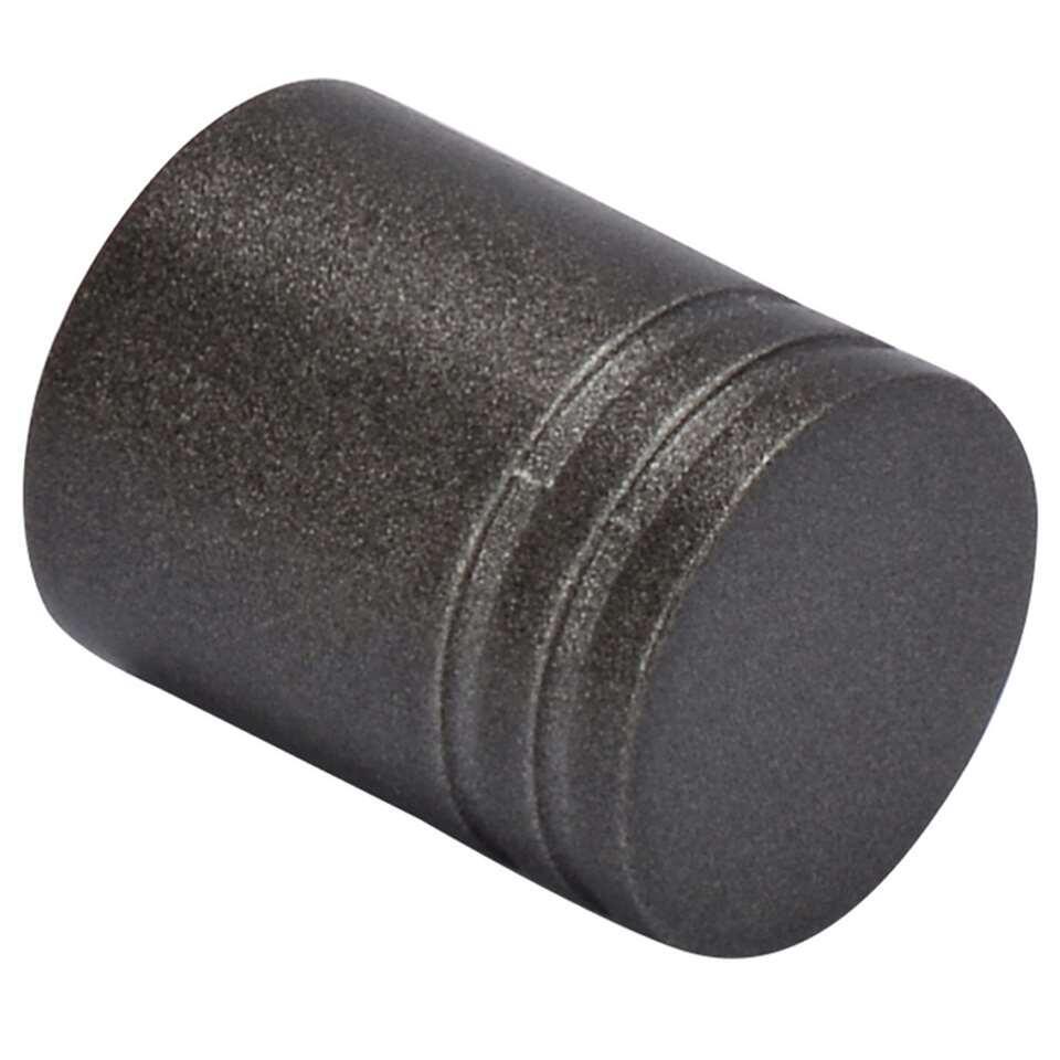 Gordijnroede knop Cylinder Ribbel heeft een diameter van 20 mm en is antraciet. Wordt geleverd per 2 stuks. Zet deze knoppen op de uiteinden van je gordijnroede en maak het geheel helemaal af!