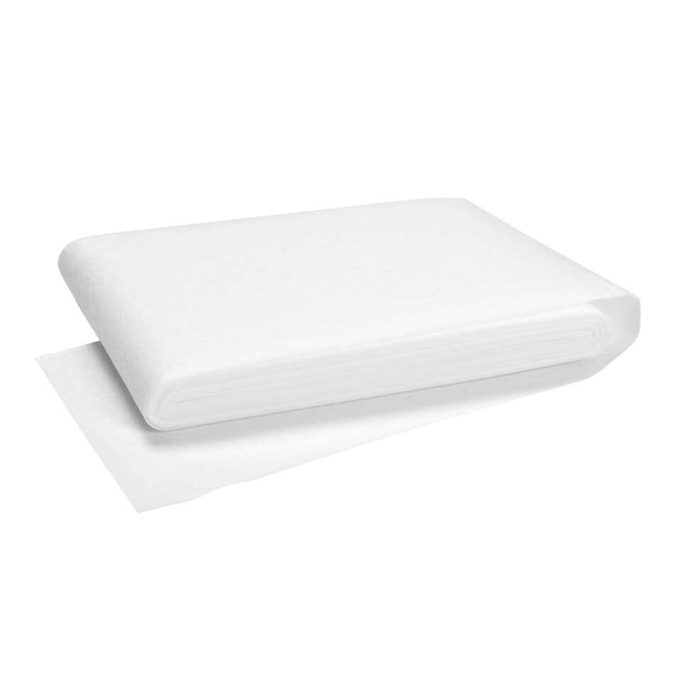 Witte instrijkbare gordijnband van 77 mm, lengte 5 meter. Om zelf gordijnen te maken of op de juiste maat te naaien.