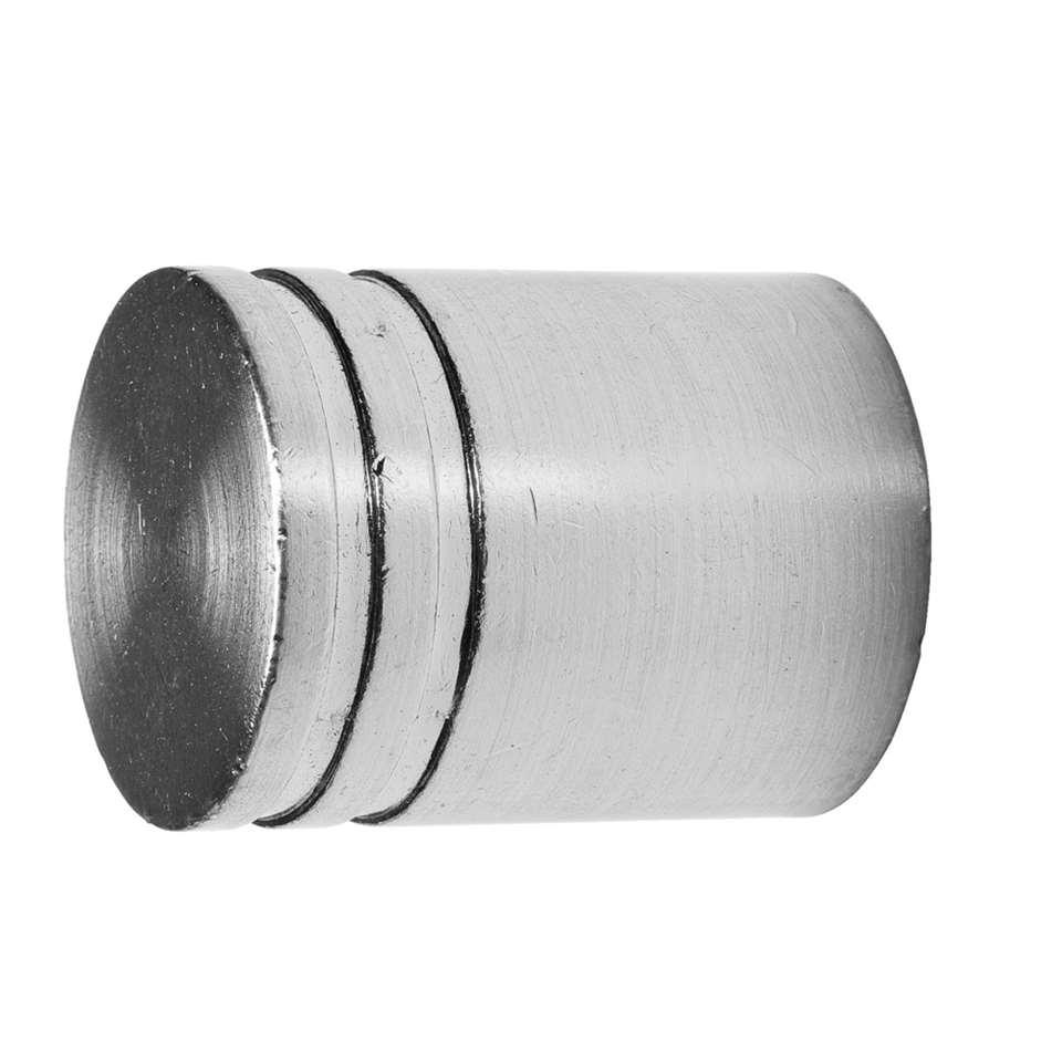 Knop cilinder 20 mm - zilverkleurig (2 stuks)