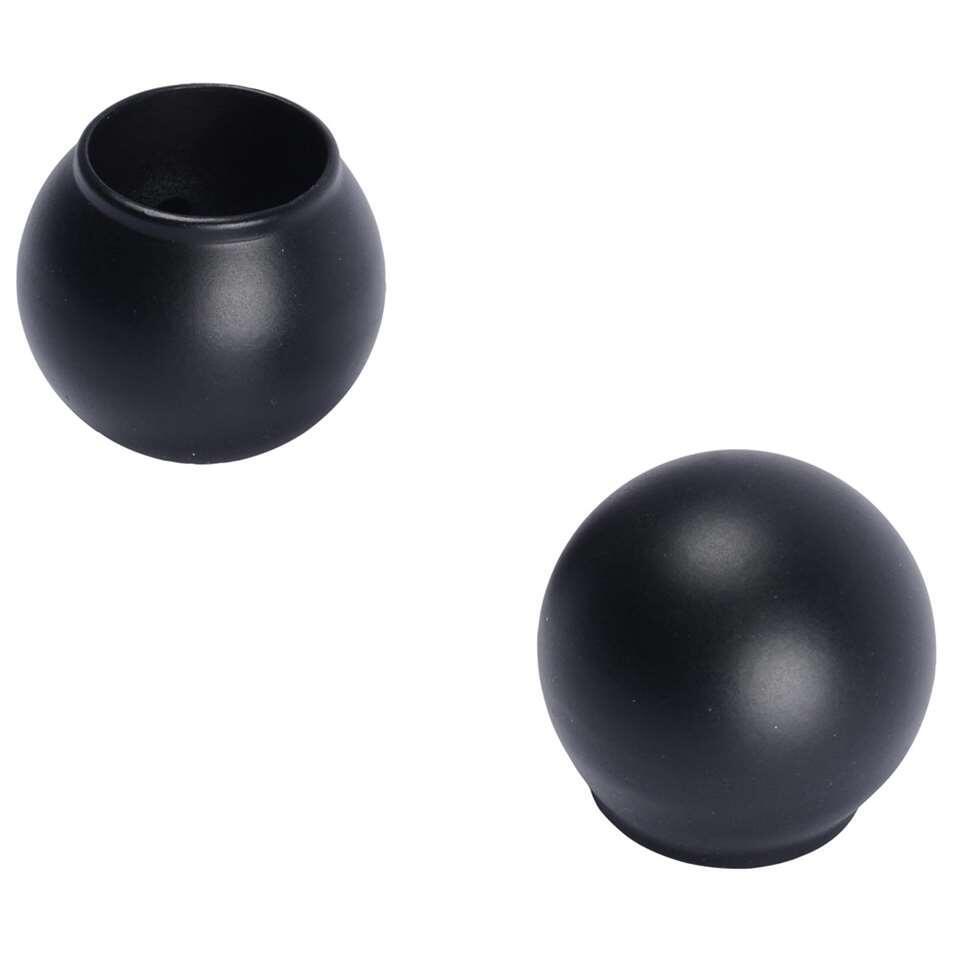 Knop Bola 20 mm - zwart (2 stuks) - Leen Bakker