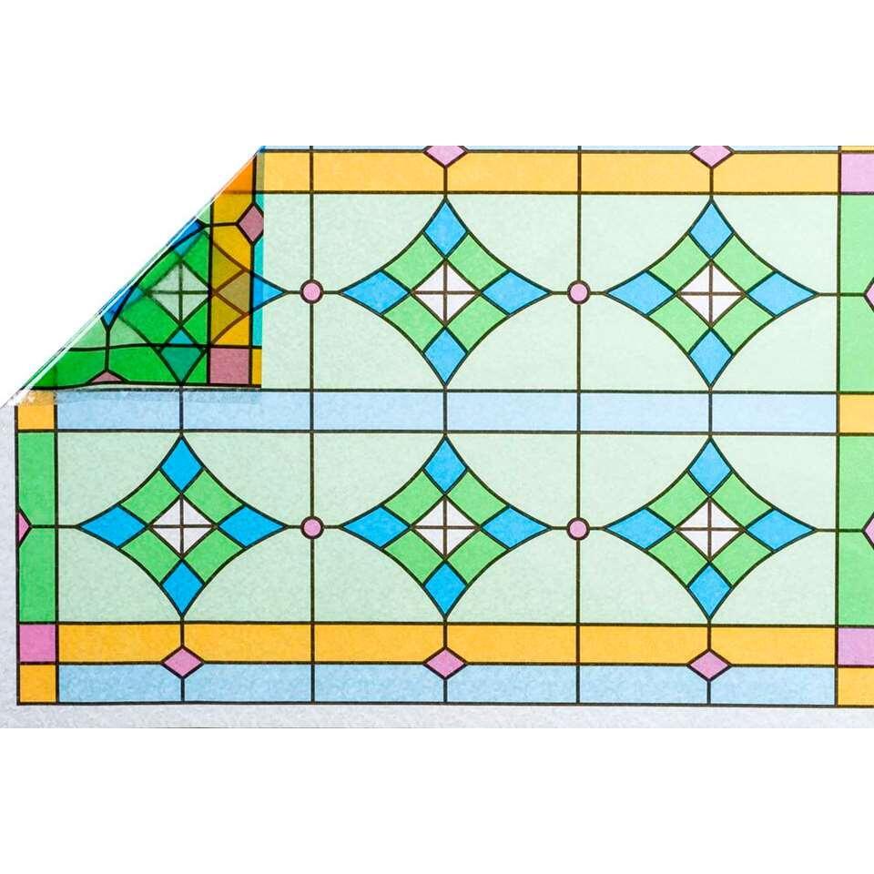 Statifix raamfolie Abbey creëert een fijne privé sfeer in huis. Het is eenvoudig op het raam aan te brengen.