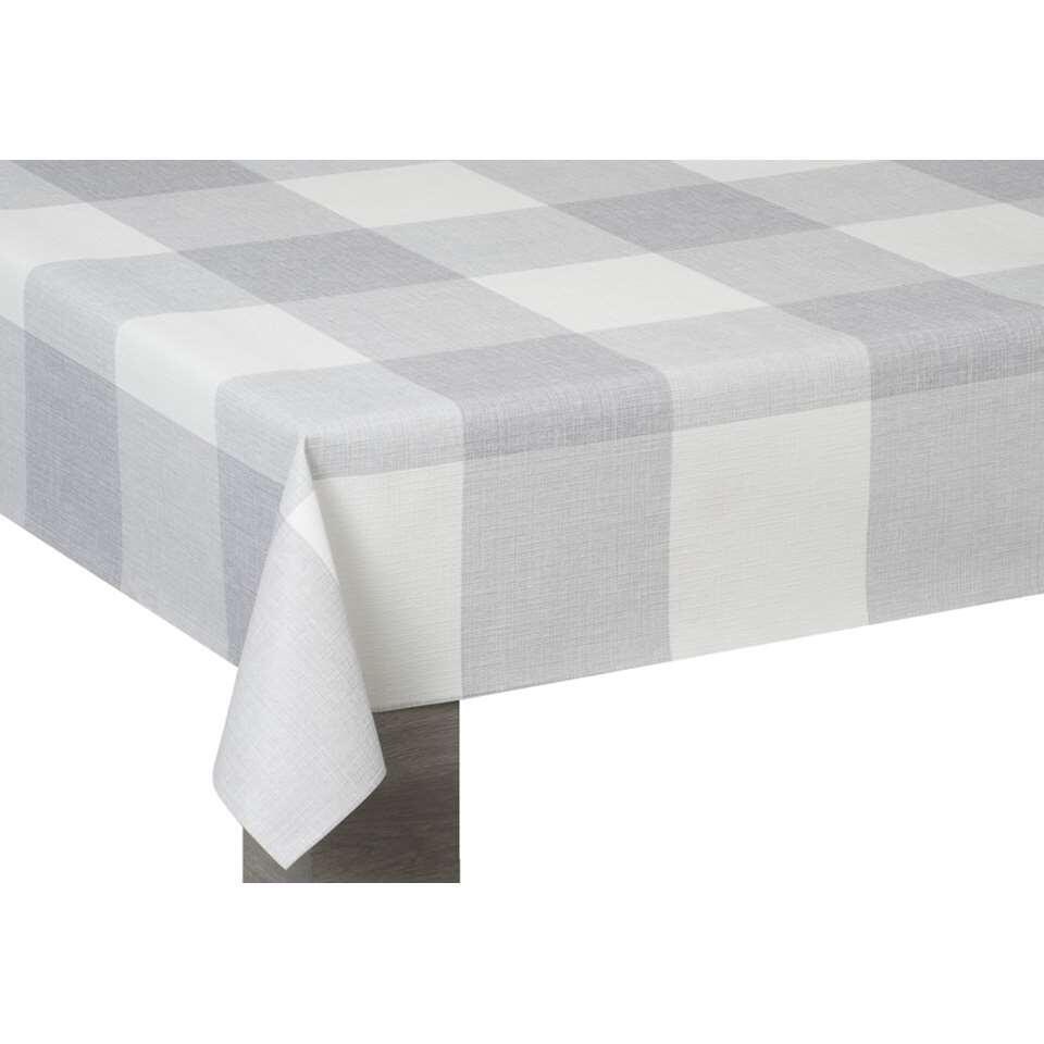 Tafelzeil Mees - wit/grijs - 140 cm - Leen Bakker