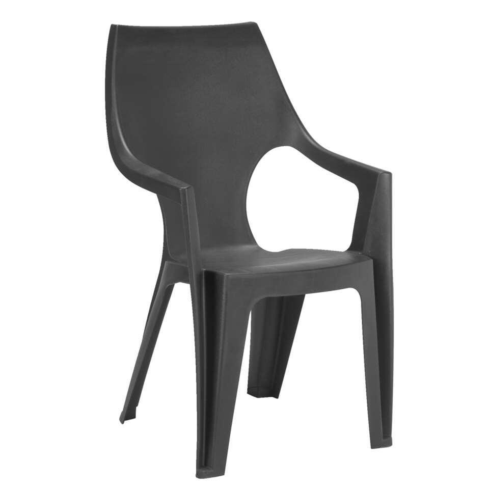 Allibert stapelstoel Dante hoge rug - donkergrijs - Leen Bakker