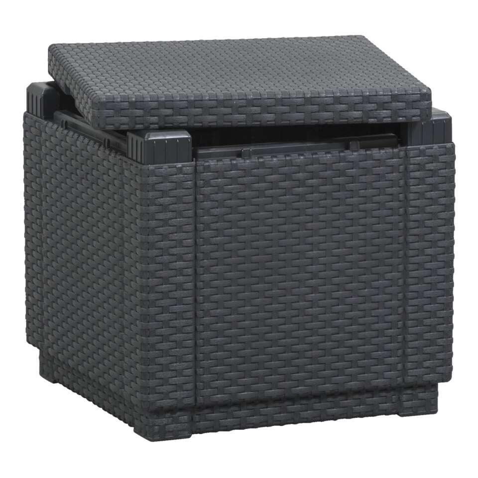 Allibert hocker/voetenbankje Cube - grijs - 39x42x42 cm (zonder kussen) - Leen Bakker