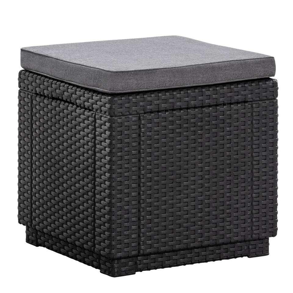 Keter Benelux B.V. Allibert hocker/voetenbankje Cube incl. kussen grijs 39x42x42 cm Leen Bakker online kopen