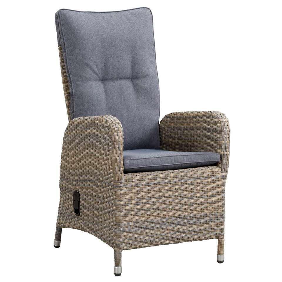 Le Sud fauteuil Verona verstelbaar met kussens - grijs - 69x58x107 cm - Leen Bakker