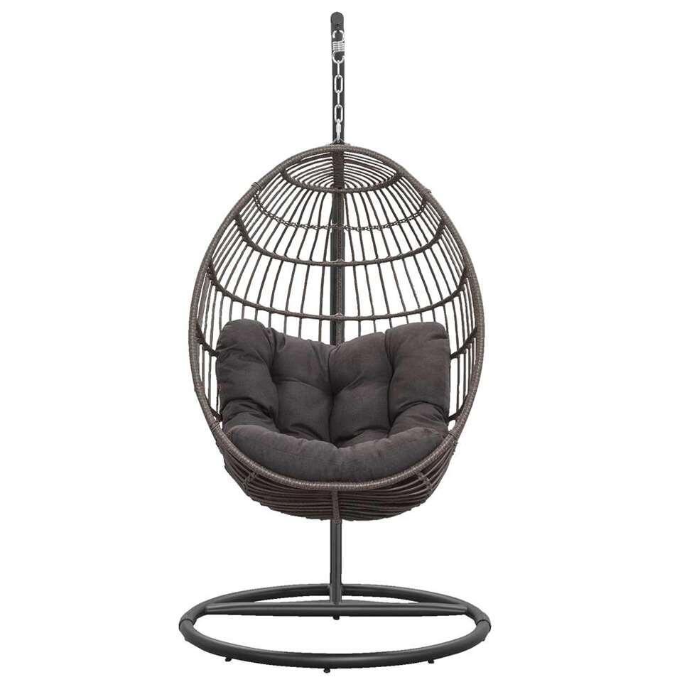 Hangstoel Brava met frame - antraciet - 191x96x96 cm - Leen Bakker