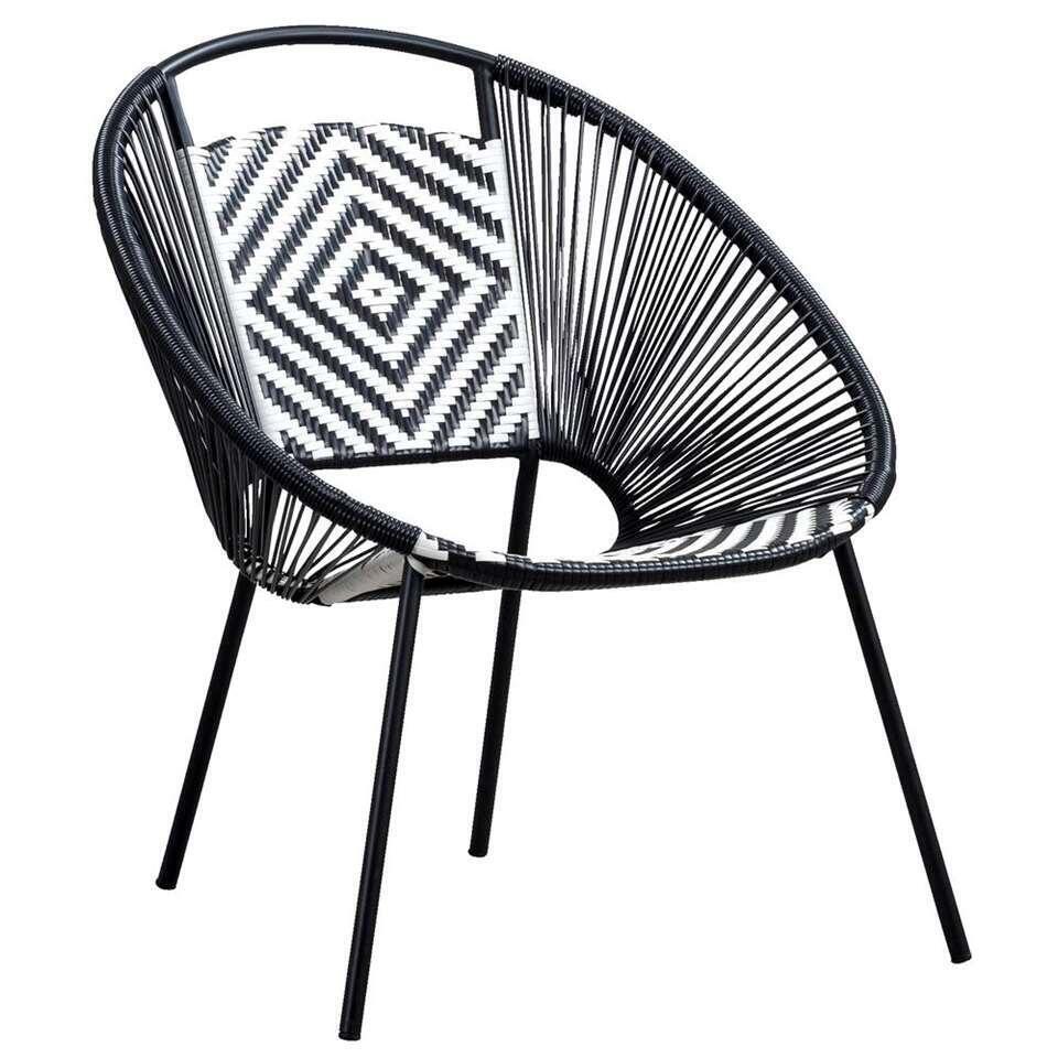 Loungestoel Zanzibar - zwart/wit - Leen Bakker