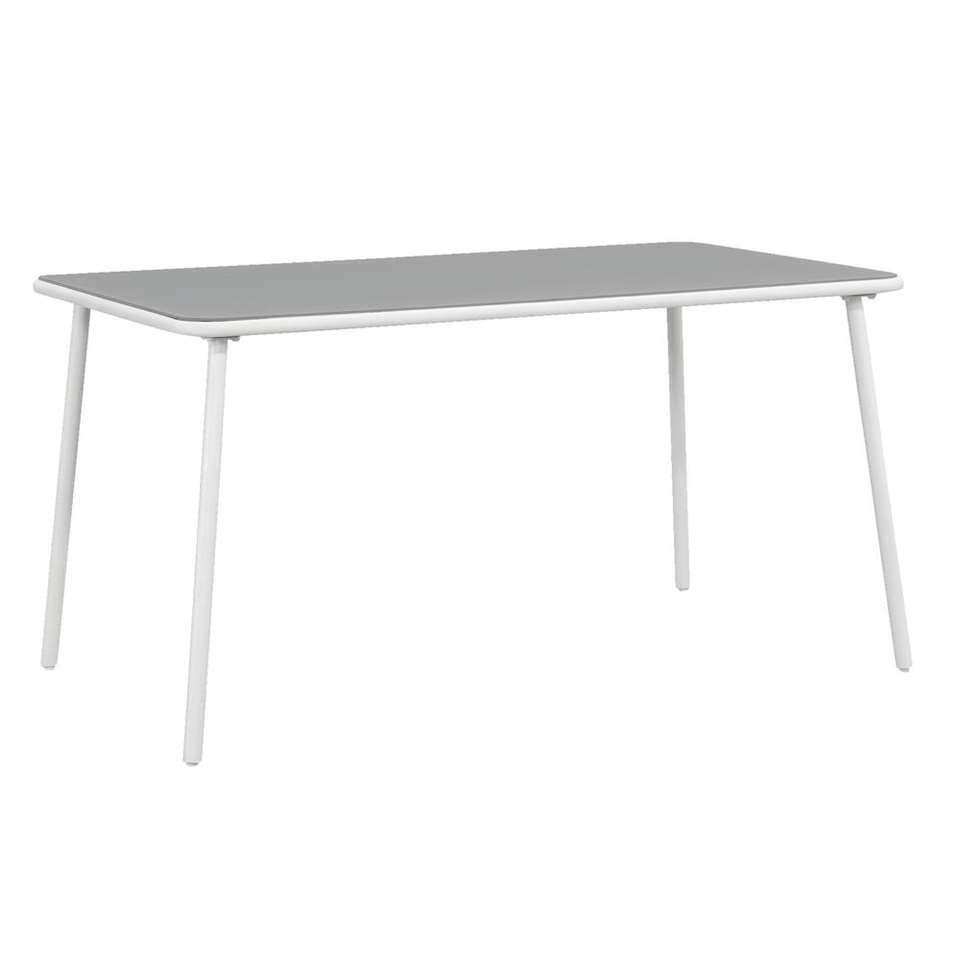 Tuintafel Marseille - grijs/wit - 145x80x74,5 cm - Leen Bakker