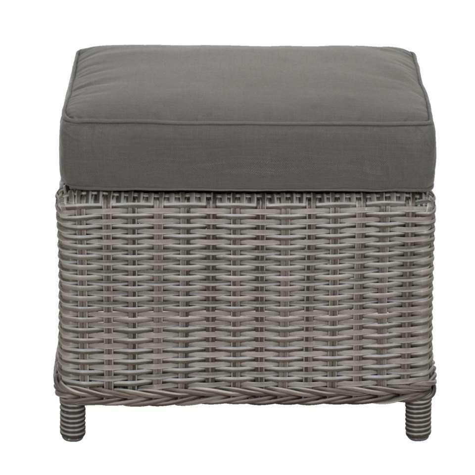 Le Sud tafel/voetenbankje Denia - grijs - 47x47x32 cm - Leen Bakker