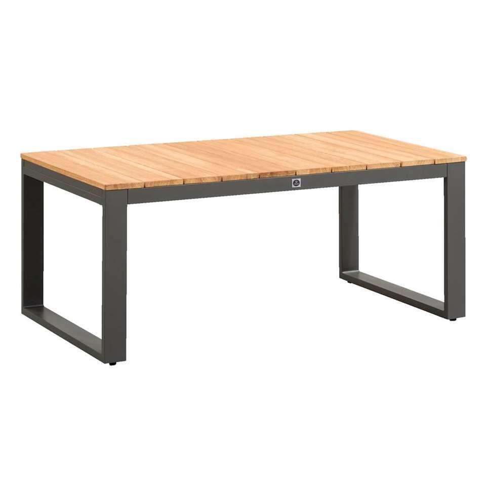 Le Sud loungetafel Bordeaux - zwart/teakkleur - 108x60x45 cm - Leen Bakker
