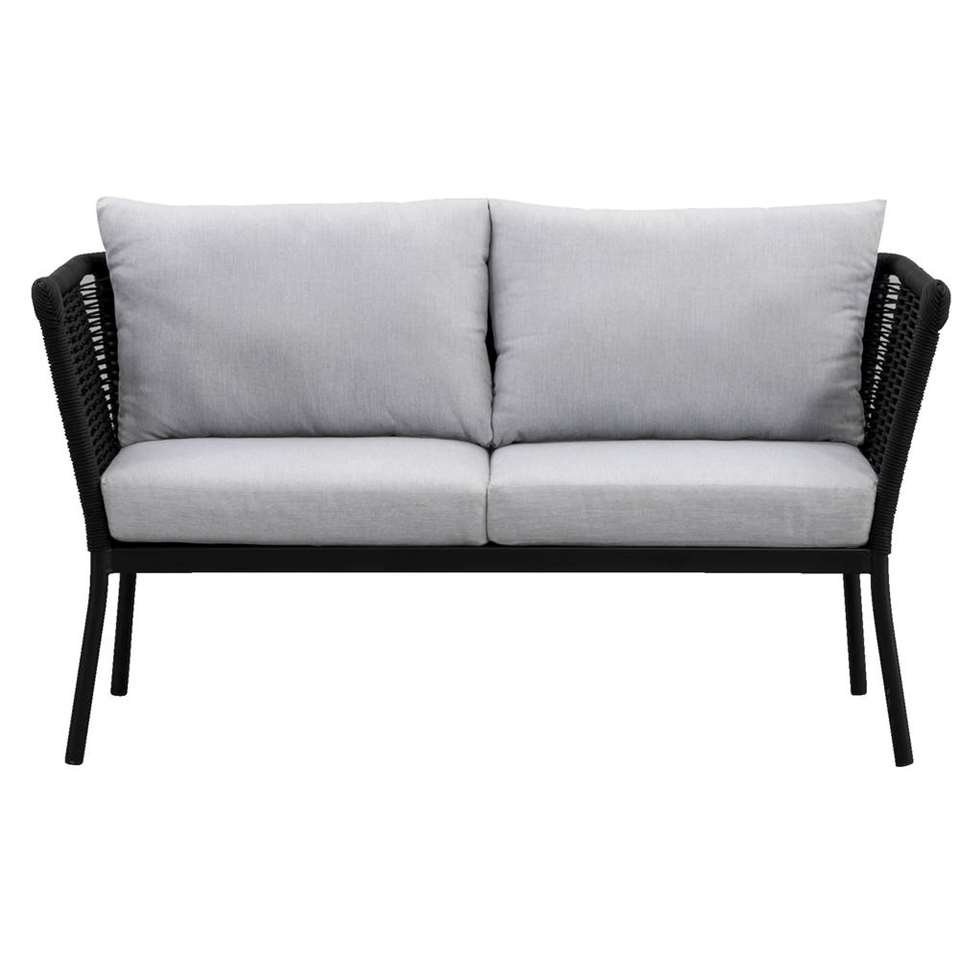 Le Sud loungebank Viviers 2-zits - mat zwart - 69x142x75 cm - Leen Bakker