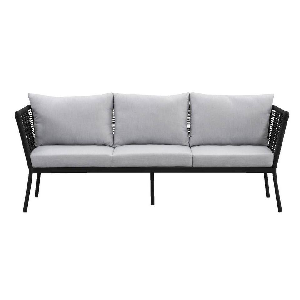 Le Sud loungebank Viviers 3-zits - mat zwart - 69x201x75 cm - Leen Bakker