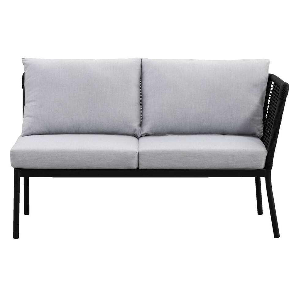 Le Sud loungebank Viviers 2-zits rechts - mat zwart - 69x133x75 cm - Leen Bakker
