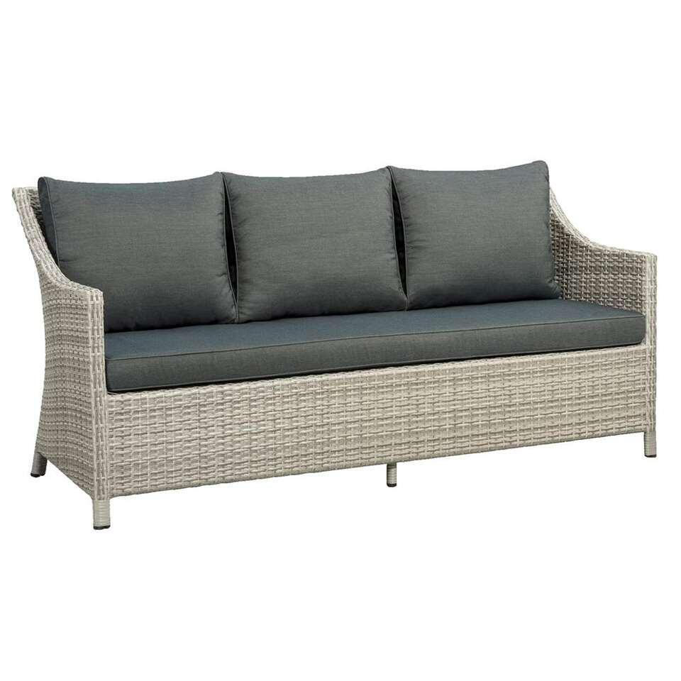 Loungebank Ronda 3-zits (inclusief kussens) - grijs - 83x185x69 cm - Leen Bakker