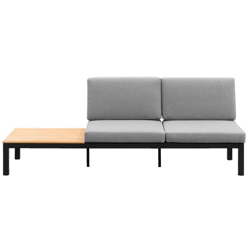 Le Sud loungebank Valence is een luxe 2-zits bank met een zijtafel. Deze bank wordt compleet geleverd rug- en zitkussens.  Deze bank heeft een matzwart frame en het tafelblad heeft een teakkleur.