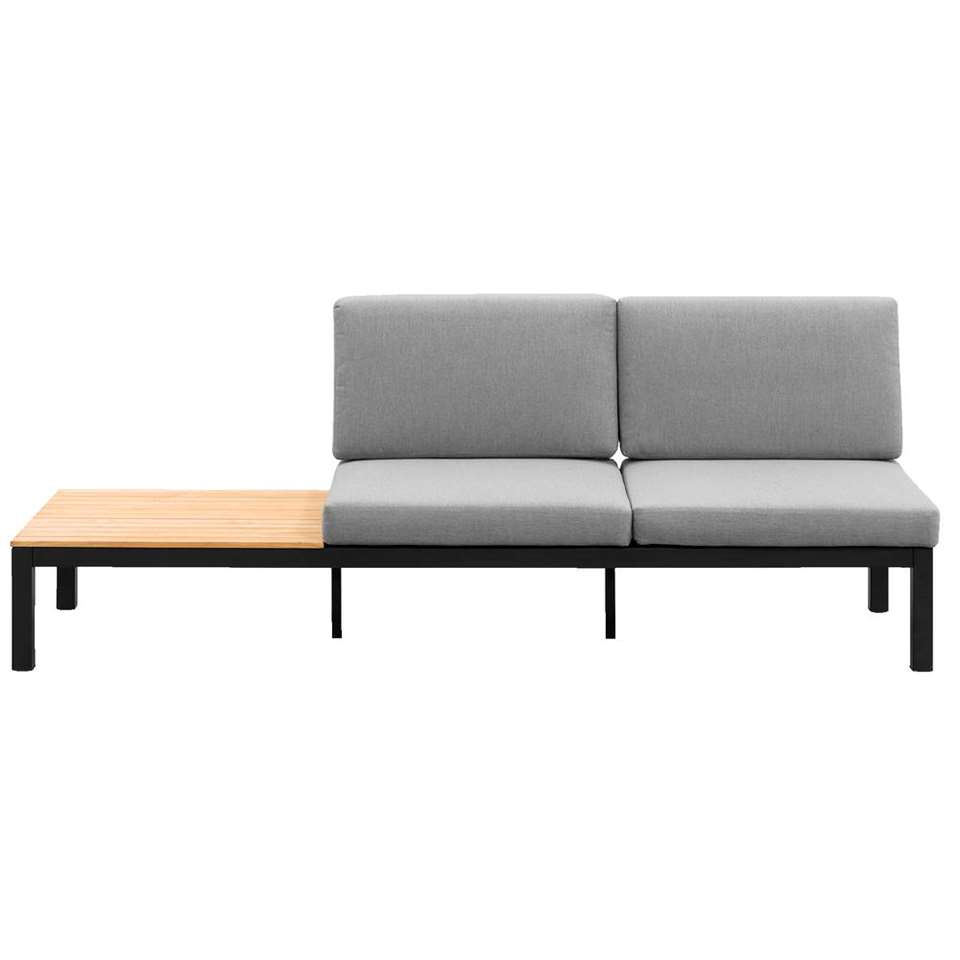Le Sud loungebank Valence - mat zwart/teakkleur - 225x75x75 cm - Leen Bakker