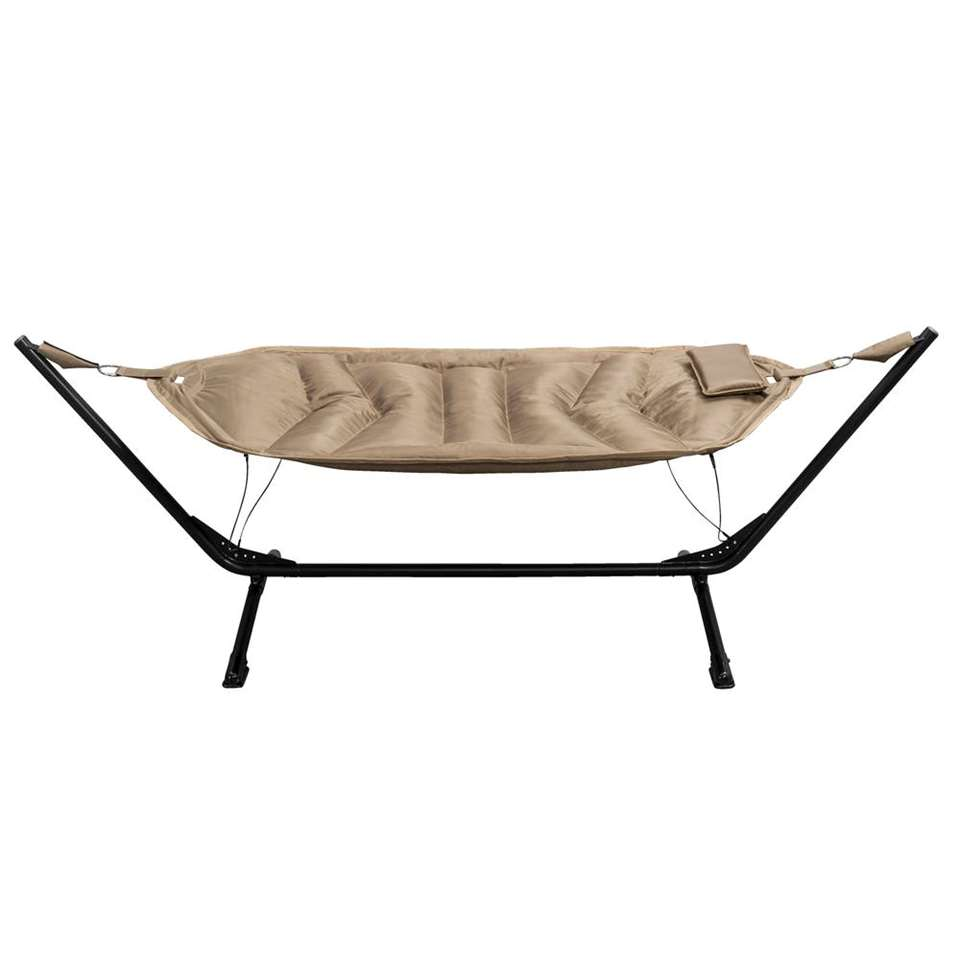 Hangmat Alghero met frame – zwart/beige – Leen Bakker
