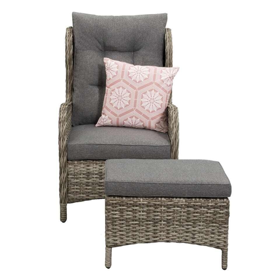 Relaxstoel Met Hocker.Le Sud Loungefauteuil Aveiro Met Hocker Grijs 100x76x37 Cm