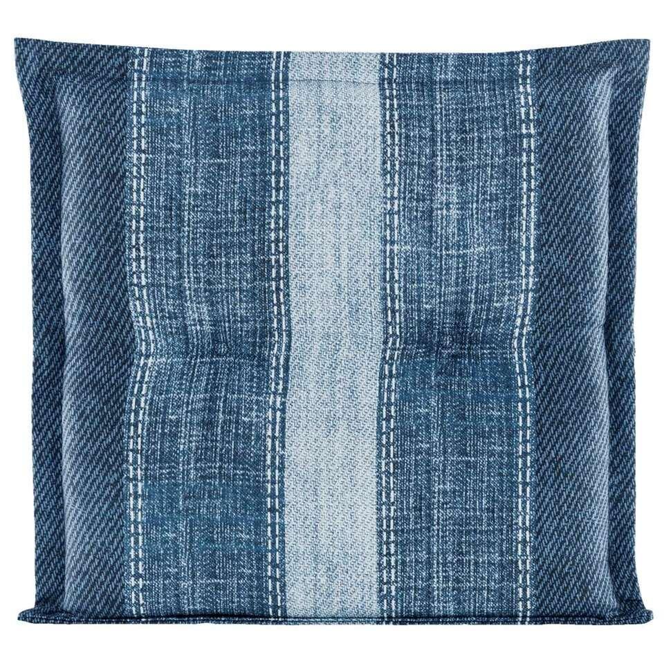 Le Sud zitkussen Woven - blauw - 44x44x7 cm - Leen Bakker