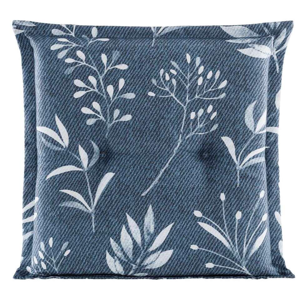 Le Sud zitkussen Woven Leaves - blauw - 44x44x7 cm - Leen Bakker