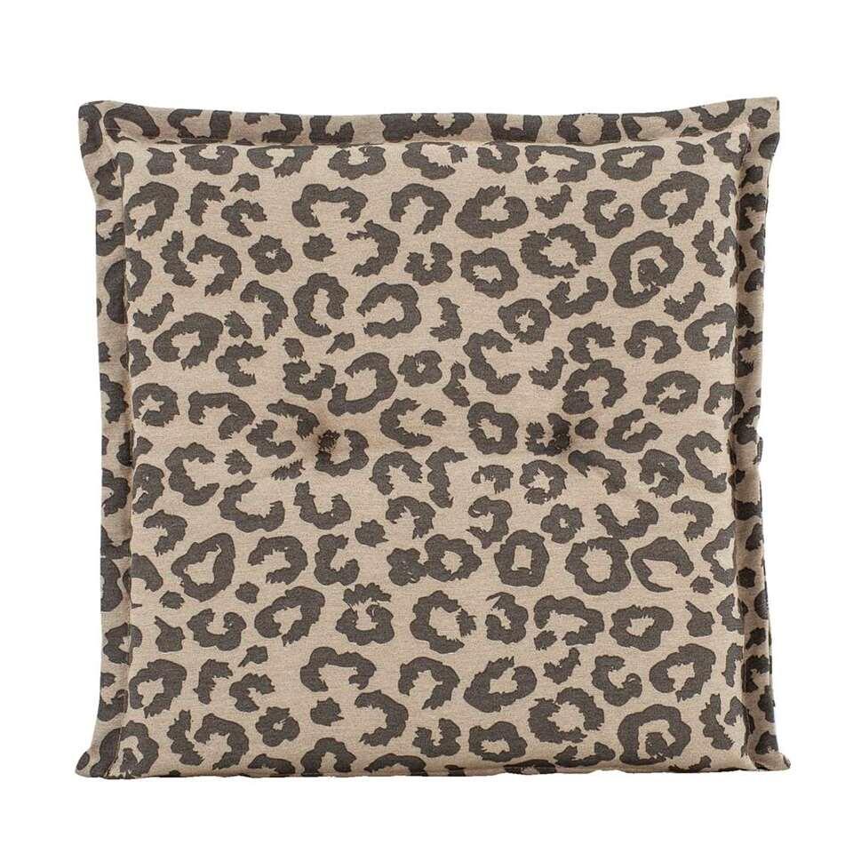 Zitkussen Leopard - taupe - 44x44x7 cm