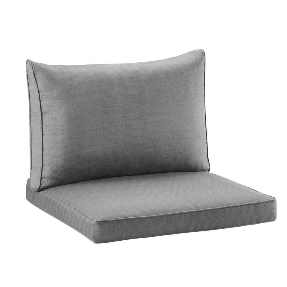 Loungekussenset Universeel 60x60x7,5 cm en 60x43x12 cm - grijs - 2 stuks - Leen Bakker