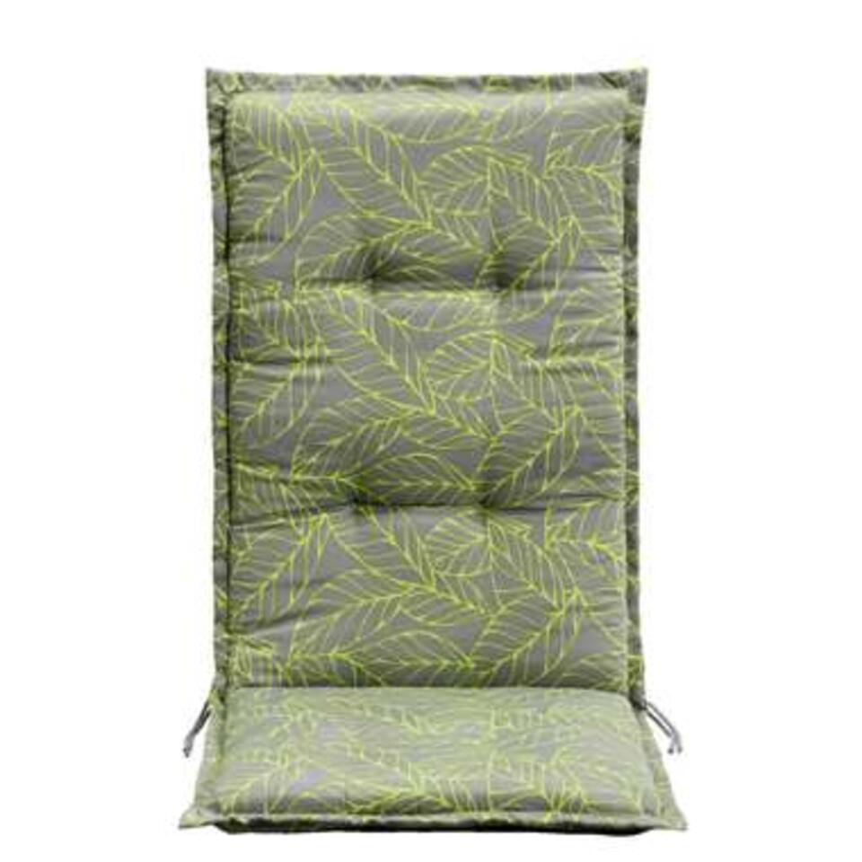 Le Sud terrasstoelkussen Leaf - grijs/groen - 123x50x5 cm - Leen Bakker