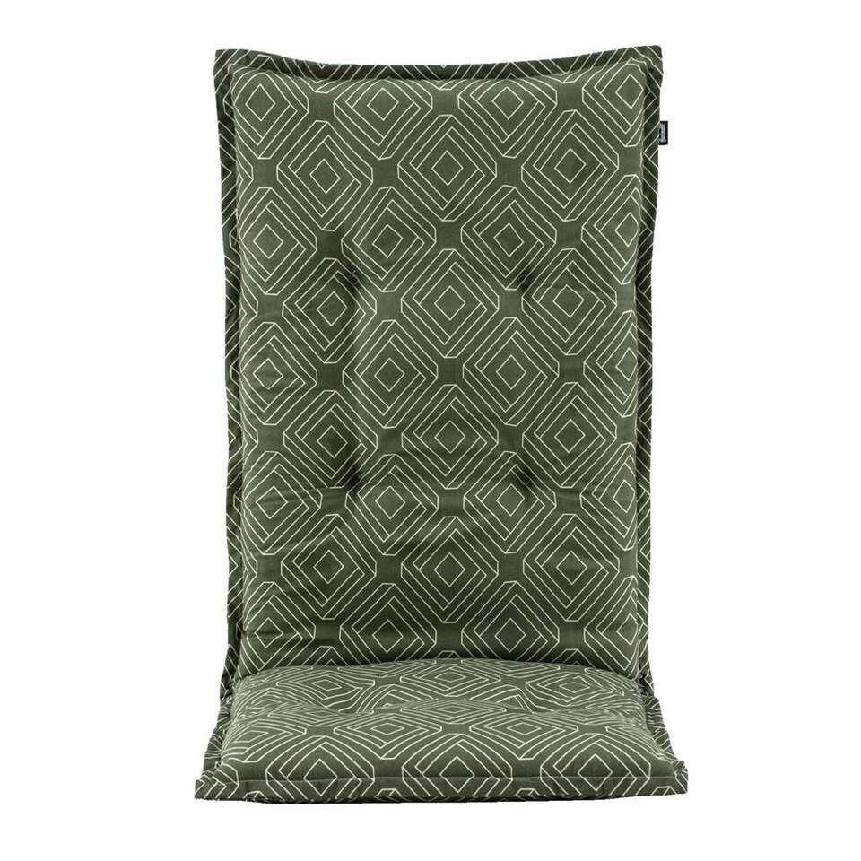 Terrasstoelkussen Carmen - groen - 123x50x8 cm - Leen Bakker