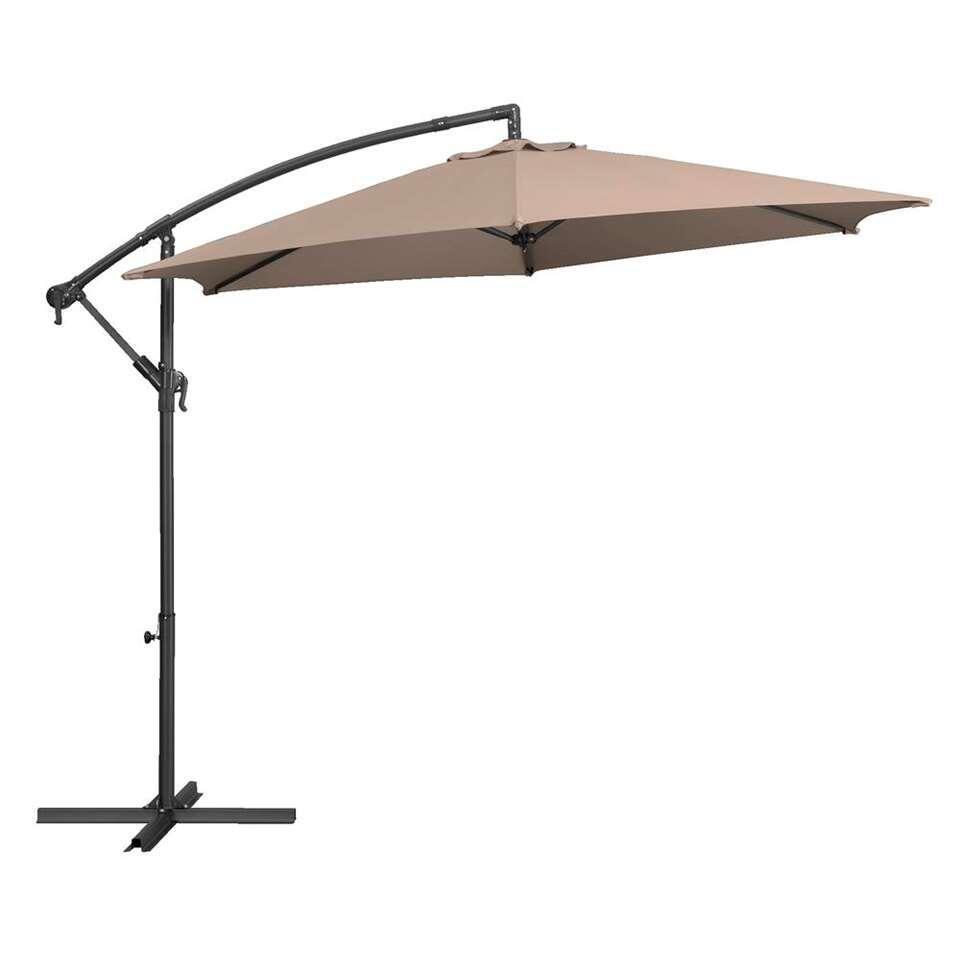 Le Sud freepole parasol Brava - taupe - Ø300 cm - Leen Bakker
